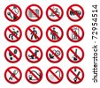 A set of signs prohibiting - stock vector