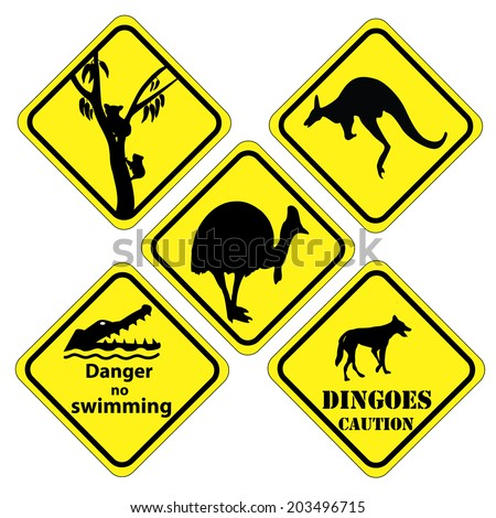 a set of signs that is found in  different parts of Australia - stock vector