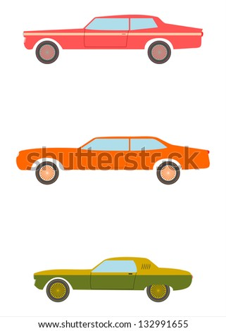 A set of silhouettes of American muscle car in retro style on a white background. - stock vector