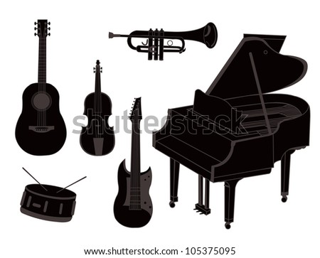 A set of silhouettes of musical instruments