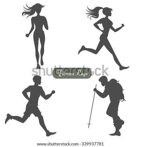 A set of silhouettes of people walking and running. Isolated on white. Sport/fitness logo. Vector Element for label design - stock vector