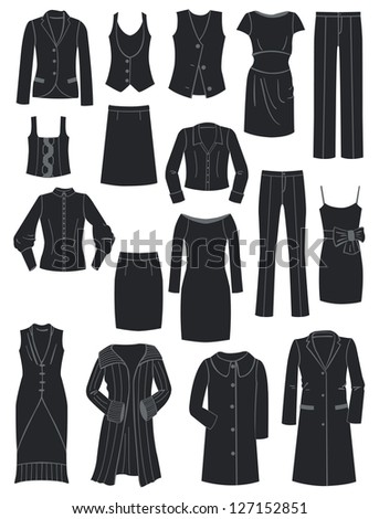 A set of silhouettes of women's classic clothing - stock vector