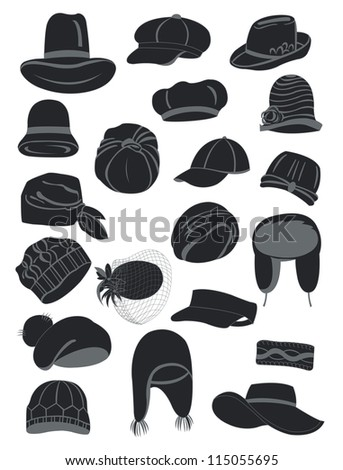 A set of silhouettes of women's hats - stock vector