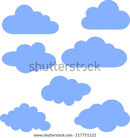 A set of simple cartoon clouds - stock vector