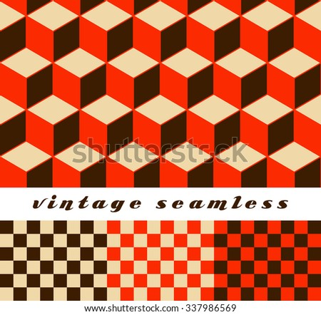 A set of simple cubic and check-board seamless tiles, coordinated patterns, in an optical illusion style red palette. - stock vector