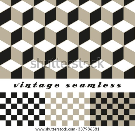 A set of simple cubic and check-board seamless tiles, coordinated patterns, in an optical illusion style neutral color palette.  - stock vector