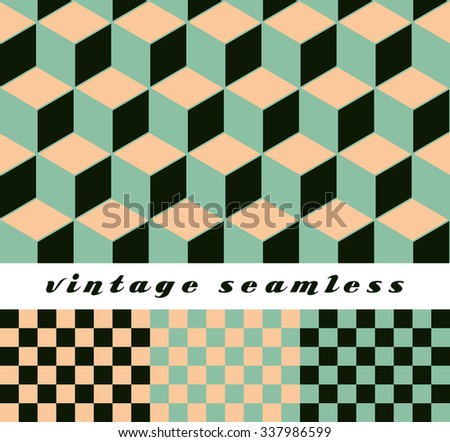 A set of simple cubic and check-board seamless tiles, coordinated patterns in an optical illusion style light green and cream color palette. - stock vector