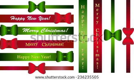 A set of simple horizontal and vertical brilliant ribbons with bows for greetings merry Christmas and a happy new Year! - stock vector