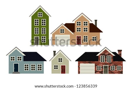 A set of 5 simple stylized house illustrations. Eps 10 Vector. - stock vector