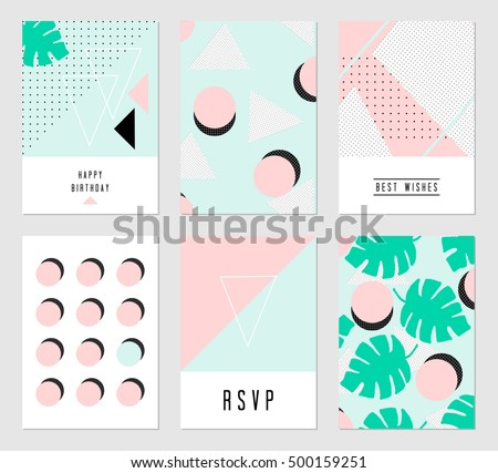 set six abstract geometric designs black stock vector royalty free