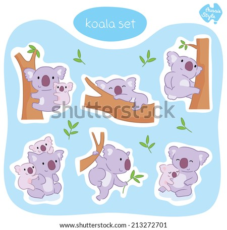 A set of six cute Australian koala bears in various poses, including sleeping, scratching, playing, eating and cuddling.  - stock vector