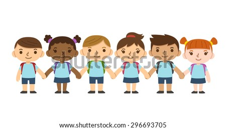 A set of six cute diverse children wearing school uniform with backpacks and holding hands. Different skintones, hairstyles and facial expressions. - stock vector