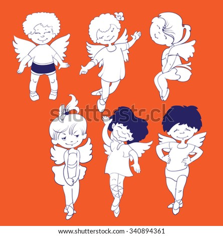 a set of six pieces of small children dressed as angels for the party  - stock vector
