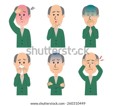 A set of six pose variations of sick elderly man, vector illustration - stock vector