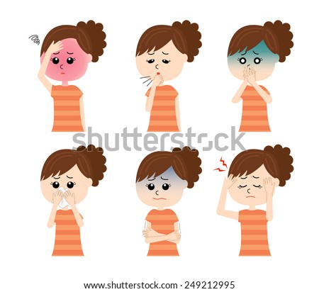 A set of six pose variations of sick young woman, vector illustration - stock vector