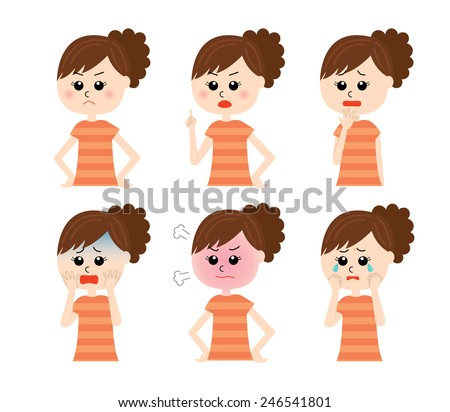 A set of six pose variations of young unhappy woman, vector illustration - stock vector