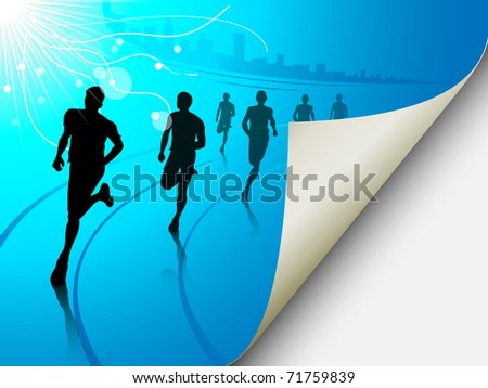 A set of six runners or marathon runners, running on a track on an abstract city or cityscape background with a sun. Vector illustration. Page looks like it is flipping, can easily add content there. - stock vector
