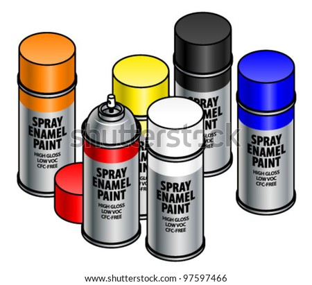 A set of six spray enamel paint canisters.
