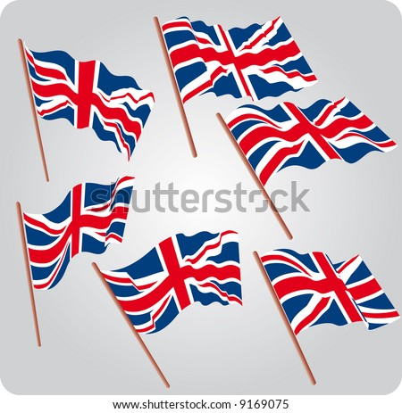 a set of six UK flags in various poses