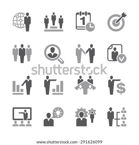 A set of sixteen human resources related icons. - stock vector