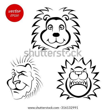 A set of sketches of the muzzle of a lion isolated on white background. Vector illustration. - stock vector