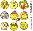 A set of 9 smileys for every taste. Done in comic doodle style. - stock photo