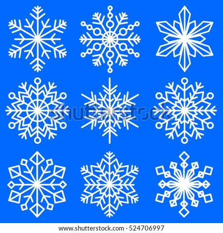 Set Snowflakes Different Shapes Patterned Decorative Stock Vector