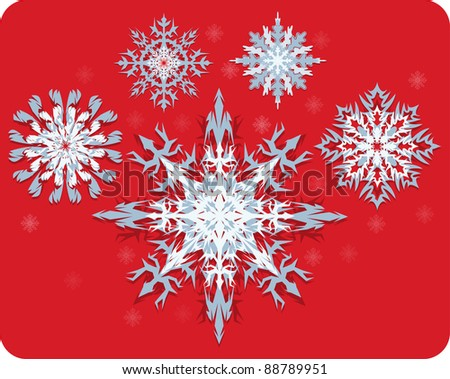 A set of Snowflakes  on removable red background. - stock vector
