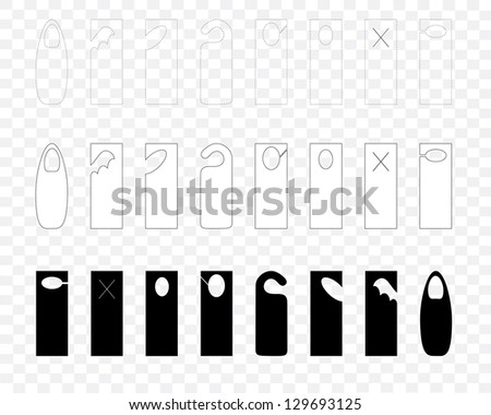 A set of solid and outlined blank door hanger templates - stock vector