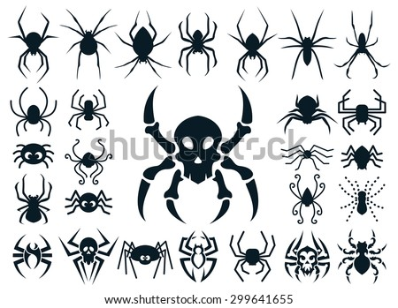 A set of spider shapes in different styles: natural, cute cartoon, spider skull design and tribal tattoo style. - stock vector