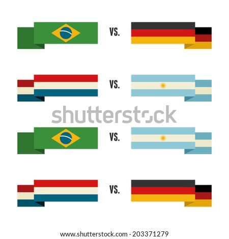 A set of sport team banners of Brazil, Germany, Netherlands and Argentina. - stock vector