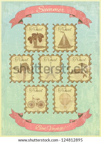 A set of stamps on the vintage background. Theme of travel. Vector illustration.