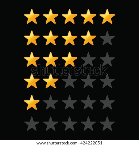 A set of stars for a rating on a black background .Yellow Stars . - stock vector