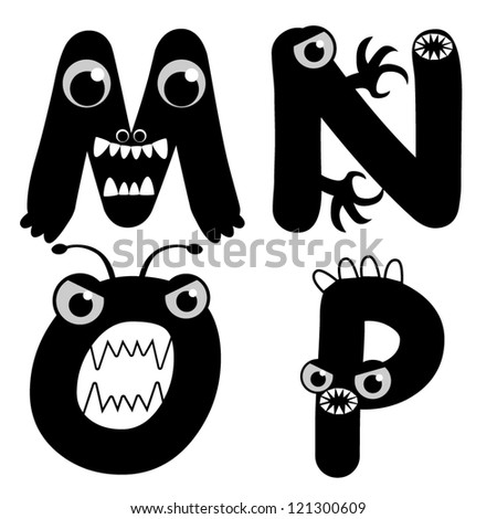 A set of strange creature font type, letter M to P - stock vector