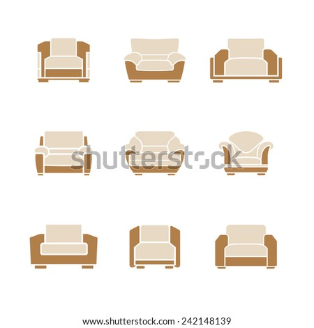 A set of stylish armchairs on a white background. Vector - stock vector