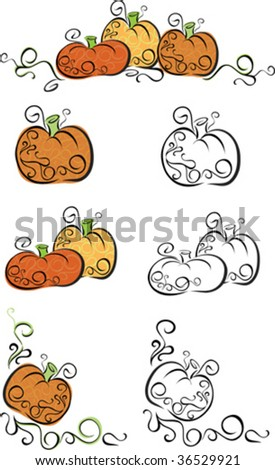 A set of stylish pumpkin vectors, would make nice embellishments for fall party invitations, announcements or recipes - stock vector