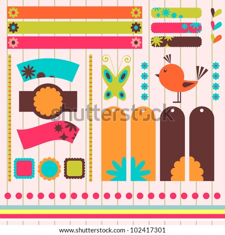 A set of sweet scrapbook elements