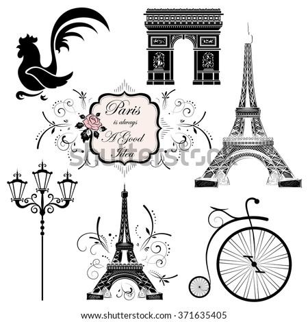 A set of symbols and landmarks of France, vector illustration