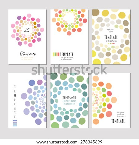 A set of template for card, notebook, album, brochure, booklet, poster, banner. Abstract circle pattern pastel tones on a light background. Pink, turquoise, purple - stock vector