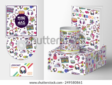 A set of templates corporate identity: the drive, business cards and postcards. Vector design elements: notes, musical instruments, lifestyle, music. Illustration contains seamless pattern. - stock vector