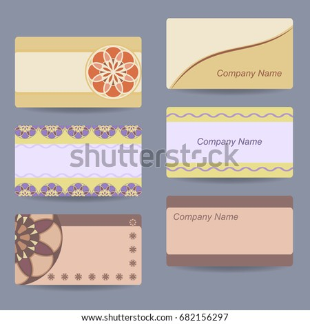 Set Templates Business Cards Colorful Ornaments Stock Vector