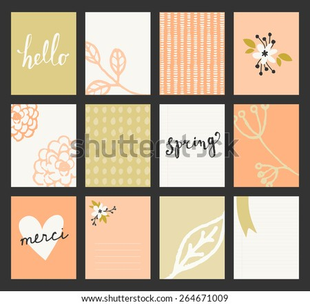A set of 12 templates for greeting cards in pastel green, orange and white. Floral designs, hand lettering and abstract brush stroke patterns with space for text. - stock vector