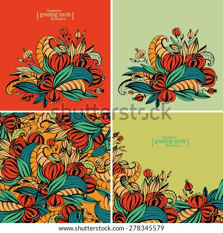 A set of templates for greeting cards, invitations, posters, brochures or banners. Hand-drawing fancy flowers with leaves. - stock vector
