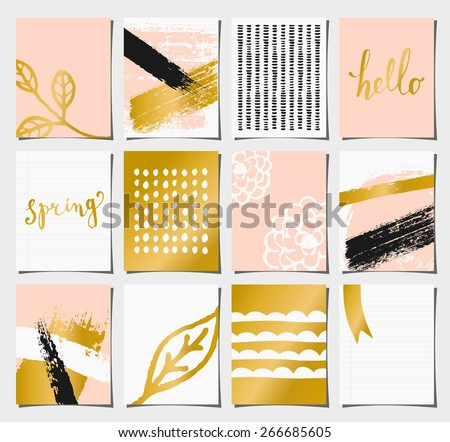 A set of 12 templates for greeting/journaling cards in pastel pink, golden, black and white. Floral designs, hand lettering and abstract brush stroke patterns with space for text. - stock vector