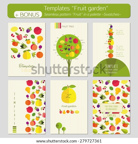 "A set of templates for postcards, covers, booklets, brochures ""Fruit garden"". Bright color pictures on a light background of the texture. Bonus - seamless pattern ""Fruit"" in a palette ""Swatches"". - stock vector"