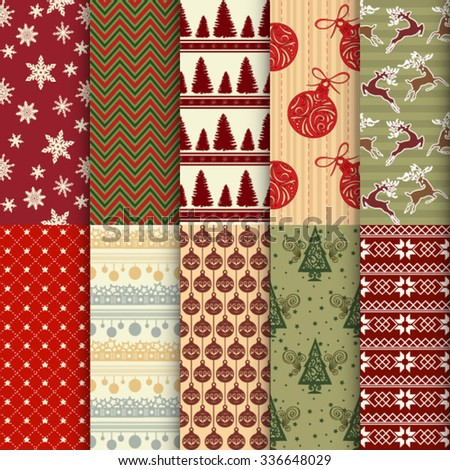 A set of ten vintage seamless Christmas and New Year patterns for fabric, print, web, packaging and product design.