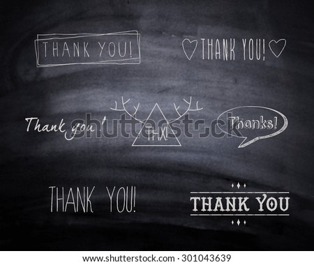 A set of  'Thank You' design elements on blackboard. Vector illustration. Easy to edit. - stock vector