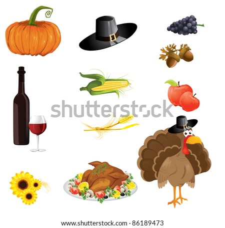 a set of thanksgiving icons - stock vector
