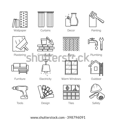 A set of thin line icons for house design, repair, construction, decoration, renovation. Including tolls, activities and objects - stock vector