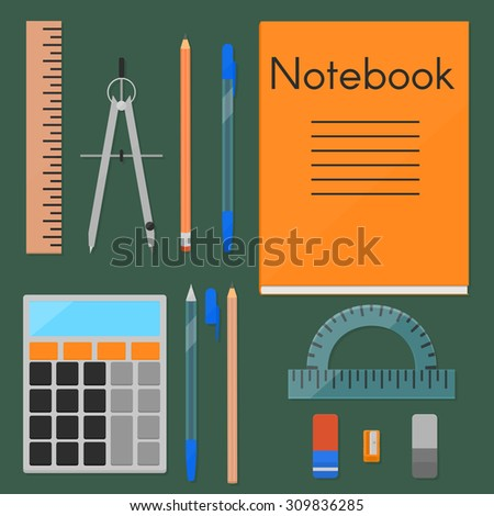 A set of things needed for study. Pencils, pens and erasers in two variations, notebook, calculator, eraser, sharpener, ruler, protactor. Flat, eps10 - stock vector